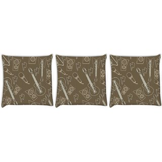 Snoogg Pack Of 3 Huitar And Mike Digitally Printed Cushion Cover Pillow 24 X 24Inch
