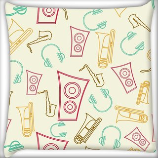 Snoogg Speakers And Jazz Digitally Printed Cushion Cover Pillow 24 X 24 Inch