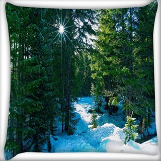 Snoogg Snow In Forest Digitally Printed Cushion Cover Pillow 24 X 24 Inch