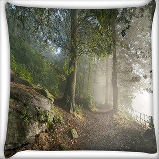Snoogg White Forest Digitally Printed Cushion Cover Pillow 24 X 24 Inch
