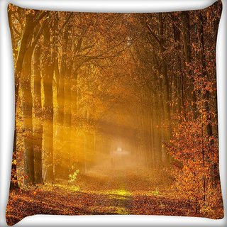 Snoogg Dense Yellow Forest Digitally Printed Cushion Cover Pillow 24 X 24 Inch
