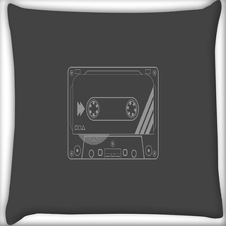 Snoogg Cassette Digitally Printed Cushion Cover Pillow 24 X 24 Inch