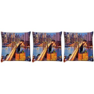 Snoogg Pack Of 3 Lightful Bridge Digitally Printed Cushion Cover Pillow 24 X 24Inch