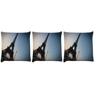 Snoogg Pack Of 3 Street Along The Towar Digitally Printed Cushion Cover Pillow 24 X 24Inch