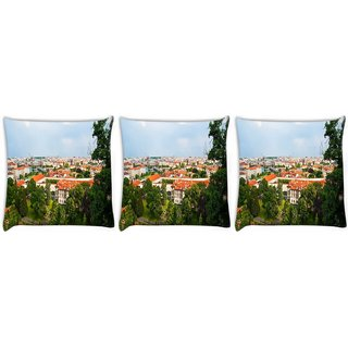 Snoogg Pack Of 3 Red Roof Houses Digitally Printed Cushion Cover Pillow 24 X 24Inch