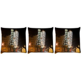 Snoogg Pack Of 3 Abstract Buildings Digitally Printed Cushion Cover Pillow 24 X 24Inch