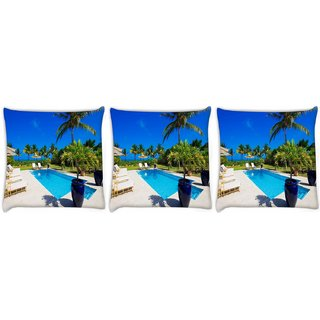 Snoogg Pack Of 3 Blue Water Digitally Printed Cushion Cover Pillow 24 X 24Inch