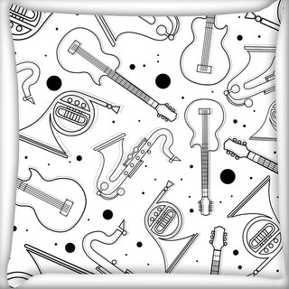 Snoogg Black Instruments Digitally Printed Cushion Cover Pillow 24 X 24 Inch