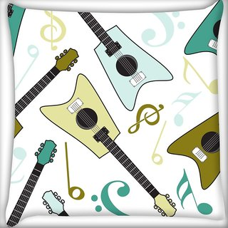Snoogg Guitars Digitally Printed Cushion Cover Pillow 24 X 24 Inch