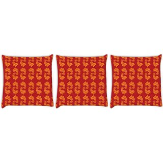 Snoogg Pack Of 3 Yellow Leaves In Red Digitally Printed Cushion Cover Pillow 24 X 24Inch