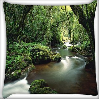 Snoogg Lake In The Jungle Digitally Printed Cushion Cover Pillow 24 X 24 Inch
