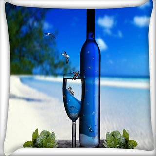 Snoogg Blue Drinks Digitally Printed Cushion Cover Pillow 24 X 24 Inch
