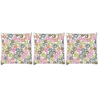 Snoogg Pack Of 3 Cream Pattern Design Digitally Printed Cushion Cover Pillow 24 X 24Inch