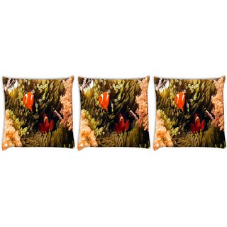 Snoogg Pack Of 3 Red And Orange Fish Digitally Printed Cushion Cover Pillow 24 X 24Inch