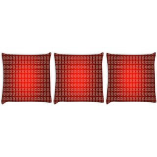 Snoogg Pack Of 3 Colorful Pattern Design Digitally Printed Cushion Cover Pillow 24 X 24Inch