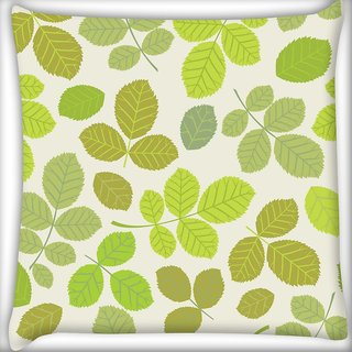 Snoogg Abstract Leaves In Green Digitally Printed Cushion Cover Pillow 24 X 24 Inch