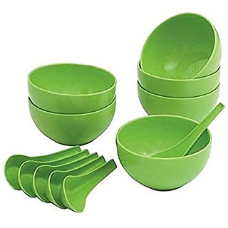 Set of 6 pcs Microwave Safe Soup Bowl 6 pcs Spoons in Opalware Material- 100 ml Green