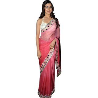 Surattex Pink&Rose Embroidered Crepe Saree With Blouse