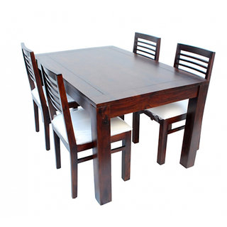 Sting solid wood 4 seater dining table set buy sting for Dining table set 4 seater