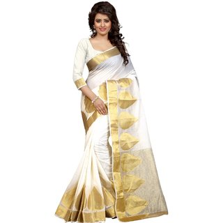 Thankar online trading Gold & White Polyester Printed Saree With Blouse