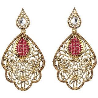Kriaa by JewelMaze Zinc Alloy Gold Plated Maroon Pota Stone Kundan Dangle Earrings-AAA1153