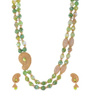Bead Designs Green Beads Necklace and Earrings Set