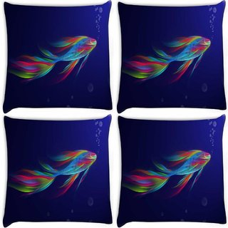 Snoogg Pack Of 4 Neon Fish Digitally Printed Cushion Cover Pillow 10 x 10 Inch