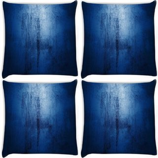 Snoogg Pack Of 4 Blue Grundgy Digitally Printed Cushion Cover Pillow 10 x 10 Inch