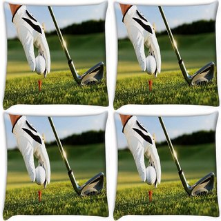 Snoogg Pack Of 4 Golf Digitally Printed Cushion Cover Pillow 10 x 10 Inch