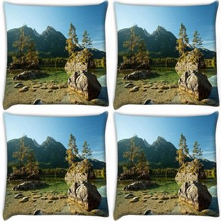 Snoogg Pack Of 4 Rocks In The River Digitally Printed Cushion Cover Pillow 10 x 10 Inch