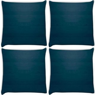 Snoogg Pack Of 4 Blue Wood Pattern Digitally Printed Cushion Cover Pillow 10 x 10 Inch