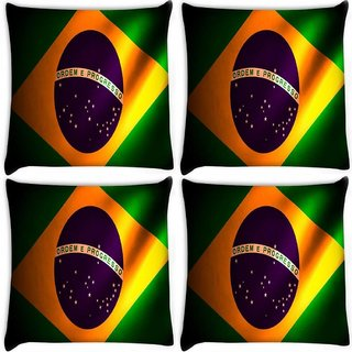 Snoogg Pack Of 4 Brazil Flag Digitally Printed Cushion Cover Pillow 10 x 10 Inch