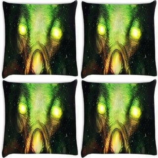 Snoogg Pack Of 4 Bright Eyes Fantasy Digitally Printed Cushion Cover Pillow 10 x 10 Inch