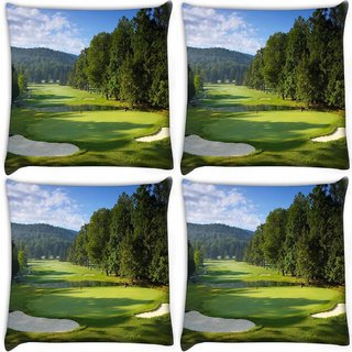 Snoogg Pack Of 4 Golf Pitch Digitally Printed Cushion Cover Pillow 10 x 10 Inch