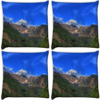 Snoogg Pack Of 4 Abstract Dark Blue Sky Digitally Printed Cushion Cover Pillow 10 x 10 Inch
