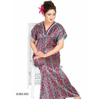 d2ced5741f Printed Nighty 1pc Daily Lounge Wear Night Dress 1 Gown 383 Maxi Nightie  Bedroom Pink Slip