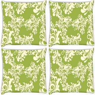 Snoogg Pack Of 4 Abstract White Green Pattern Digitally Printed Cushion Cover Pillow 10 x 10 Inch