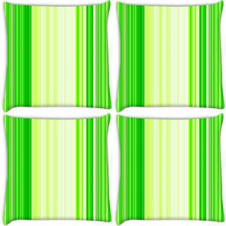 Snoogg Pack Of 4 Green Strips Digitally Printed Cushion Cover Pillow 10 x 10 Inch