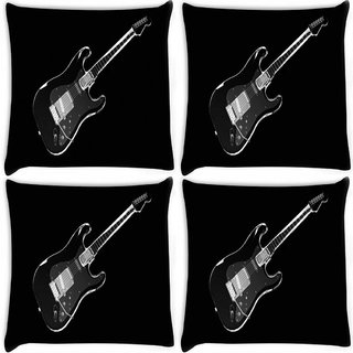 Snoogg Pack Of 4 Black Guiatr Digitally Printed Cushion Cover Pillow 10 x 10 Inch