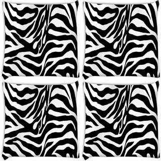 Snoogg Pack Of 4 Zebra Skin Digitally Printed Cushion Cover Pillow 10 x 10 Inch