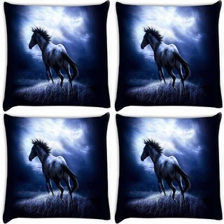 Snoogg Pack Of 4 Horse Running Digitally Printed Cushion Cover Pillow 10 x 10 Inch
