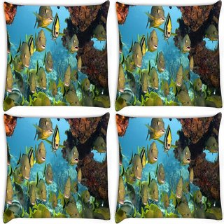 Snoogg Pack Of 4 Group Of Fish Digitally Printed Cushion Cover Pillow 10 x 10 Inch