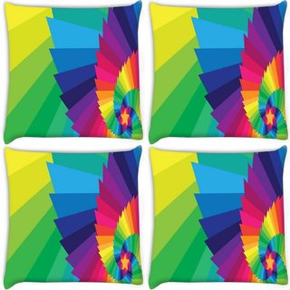 Snoogg Pack Of 4 Multicolor Star Digitally Printed Cushion Cover Pillow 10 x 10 Inch