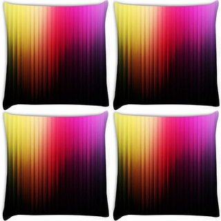 Snoogg Pack Of 4 Colorful Bars Digitally Printed Cushion Cover Pillow 10 x 10 Inch
