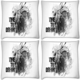 Snoogg Pack Of 4 Time To Dream Digitally Printed Cushion Cover Pillow 10 x 10 Inch