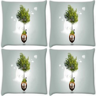 Snoogg Pack Of 4 Two Small World Digitally Printed Cushion Cover Pillow 10 x 10 Inch