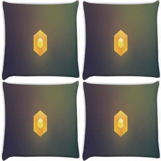 Snoogg Pack Of 4 Cube Minimalistic Digitally Printed Cushion Cover Pillow 10 x 10 Inch