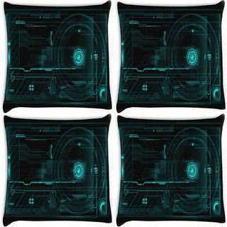 Snoogg Pack Of 4 Minimalistic Circuits Digitally Printed Cushion Cover Pillow 10 x 10 Inch