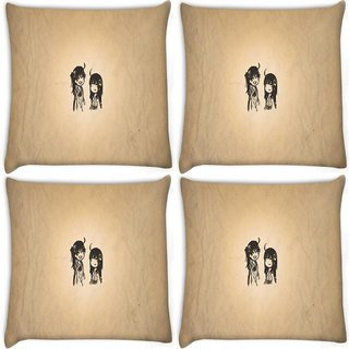Snoogg Pack Of 4 Minimalistic Simple Digitally Printed Cushion Cover Pillow 10 x 10 Inch