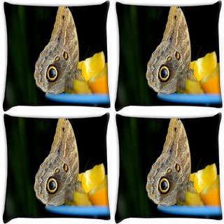 Snoogg Pack Of 4 Butterfly In Yellow Lemon Digitally Printed Cushion Cover Pillow 10 x 10 Inch